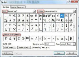 Bảng kí tự đặc biệt trong Windows